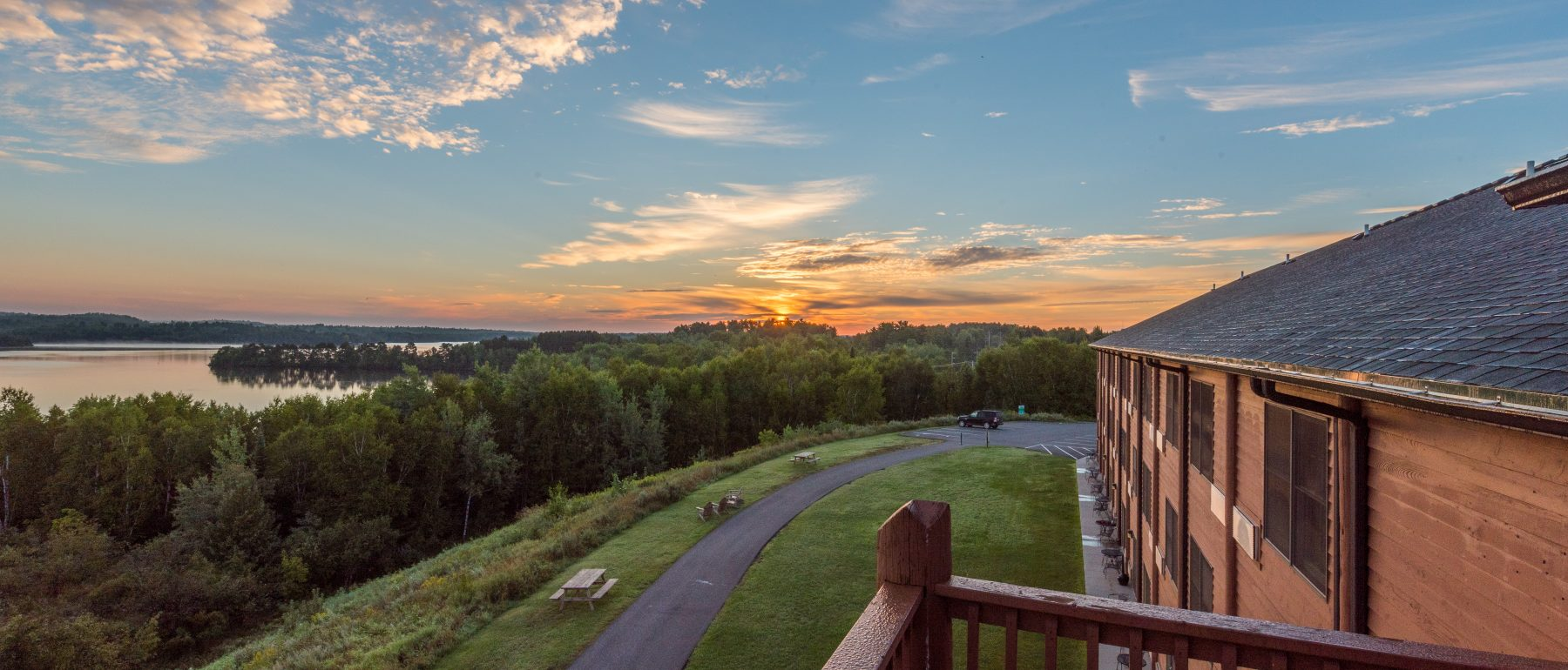 views of Ely Minnesota from balcony of Grand Ely Lodge