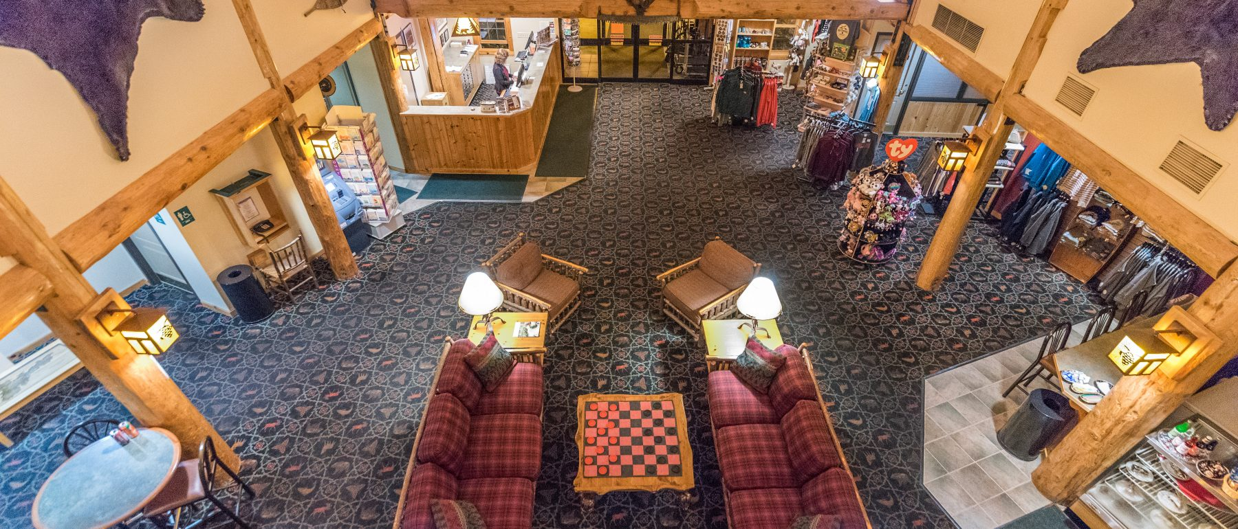 Aerial View of the Grand Ely Lodge Lobby