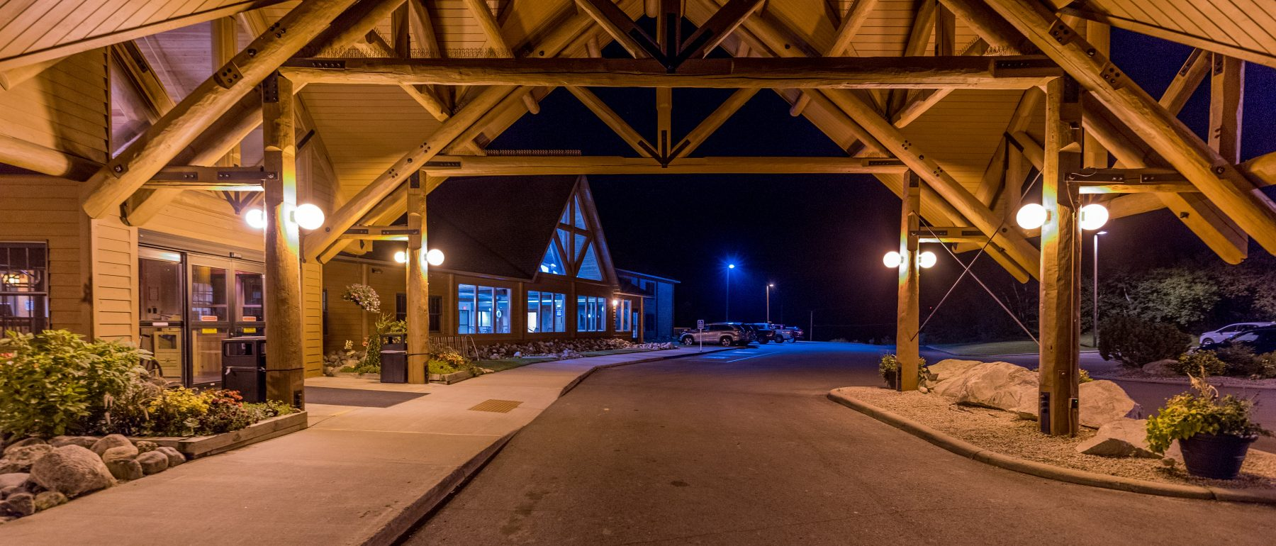 Exterior of Grand Ely Lodge at Night