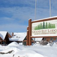 Exterior of Grand Ely Lodge Sign in Winter