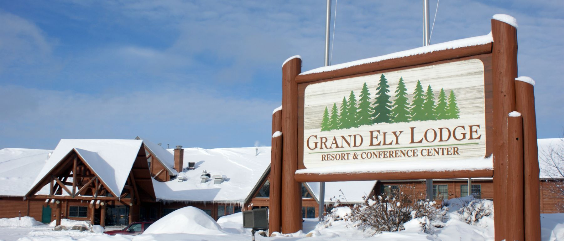 Grand Ely Lodge entrance sign during the winter wonderland special offers
