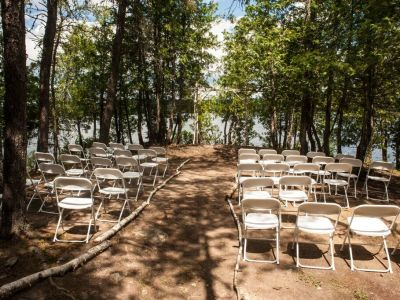 wedding ceremony outdoors at Grand Ely Lodge